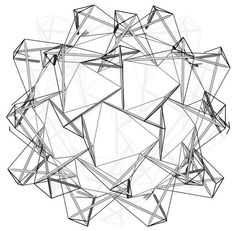 Spherical Assembly of Tensegrity Tripods. a spherical assembly of tripods embedded in the tensegrity network. To enhance diagrammatical clarity, the back half has been sliced away. By Burkhardt.