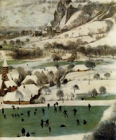 sean-atkins: 1565 Pieter Bruegel the Elder – Hunters in the Snow, Winter, Detail skaters