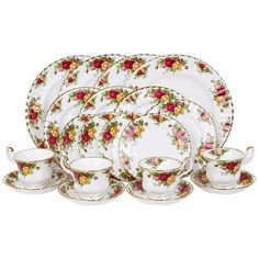 Royal Albert Old Country Roses 20-Piece Set ($375) ❤ liked on Polyvore featuring home, kitchen & dining, dinnerware, bone china, royal albert dinnerware, royal albert, rose bone china and rose dinnerware