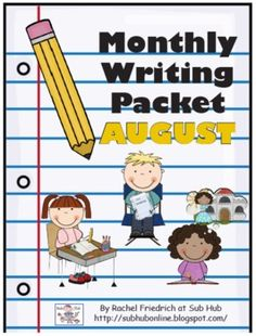 $. Monthly Writing Packet: August. Themed writing activities including the themes of Summer Vacation, Back-to-School, and All About Me. Includes 15 journal prompts, 3 story maps, 1 publishing project with a rough draft sheet, 5 picture prompts with a response sheet, and 1 literature-based writing lesson with a response sheet.