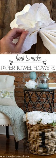 How to make paper towel flowers. Very easy to do and great filler prop. Would also look cute on a garland for Christmas or as Christmas ornaments on tree.