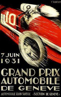 1931 Grand Prix Automobile De Geneve Race - Promotional Advertising Poster