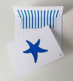 Blue Starfish Card  Sea Star Note Card  by IdAndEgoCreations, $3.75