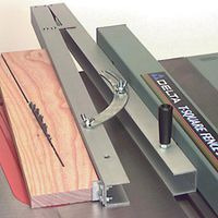 Table Saw Taper Jig :: When you need to make that slightly angled cut that is to long for your miter or chop saw, use the taper jig to make the job easier. Constructed of aluminum , this taper jig includes a built-in scale and is fully adjustable.