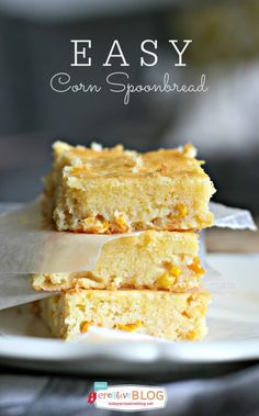 Easy Corn Spoonbread Recipe | Spoon it right out of the pan or cut into squares. Drizzle a bit of honey for a delicious snack.  TodaysCreativeblog.net