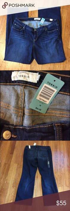 NWT Torrid Size 18 Jeans NWT Torrid Size 18 jeans. Color is called ocean blue and they are relaxed boot fit. No trades please! torrid Pants Boot Cut & Flare