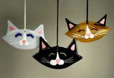 Glass cat ornaments