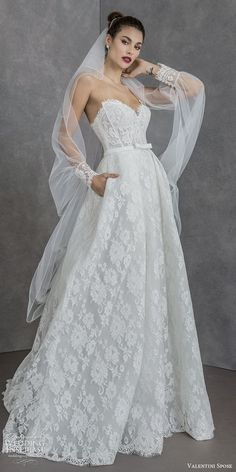 valentini spose spring 2020 bridal strapless sweetheart fully lace a line ball gown wedding dress (4) sheer long sleeve jacket modern romantic sweep train mv -- Valentini Spose Spring 2020 Wedding Dresses | Wedding Inspirasi  #wedding #weddings #bridal #weddingdress #weddingdresses #bride #fashion #label:ValentiniSpose #season:Spring/Summer #week:202019 #year:2020 ~ Stunning Wedding Dresses, Wedding Dresses For Girls, Perfect Wedding Dress, Wedding Dress Styles, Bridal Dresses, Wedding Gowns, Red Wedding, Elegant Wedding, Wedding Hair