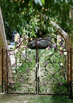 love the gate, flowers and the tiny lights in the distance