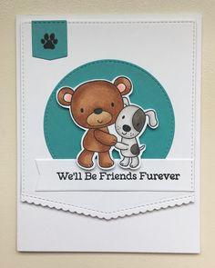 Friends Furever stamp set from MFT Stamps. Card by Mocha Frap Scrapper Cat Cards, Bird Cards, Penny Black, Dog Cards Handmade, New Baby Cards, Mft Stamps, Friendship Cards, Animal Cards, Sympathy Cards