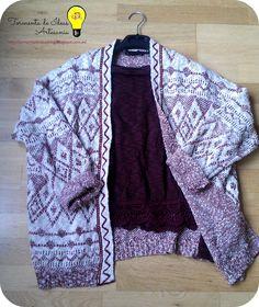 ♥ Outfit: En invierno, color #burdeos // Chaqueta punto: Stradivarius (rebajas) // Camiseta crochet: Pull and Bear (Nueva colección).