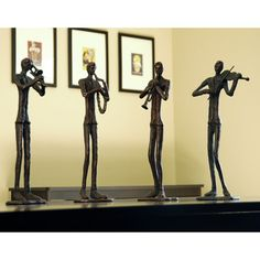 Found it at Wayfair - 4 Piece Jazzy Quartet Figurine Set Decorative Objects, Decorative Pillows, Wood Sculpture, Sculptures, Palm City, Led Furniture, Accent Furniture, Hand Cast, Home Collections