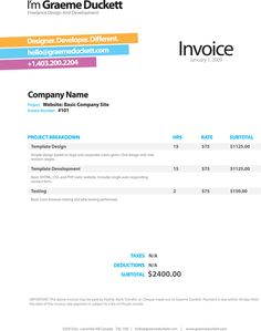 Graeme Duckett's invoice