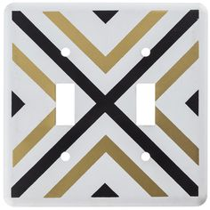 Black & Gold Geometric Double Switch Plate