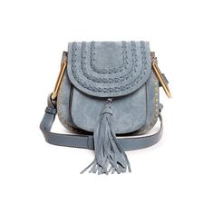 Chloé Hudson mini suede cross-body bag ($1,683) ❤ liked on Polyvore featuring bags, handbags, shoulder bags, light blue, boho shoulder bag, light blue purse, blue purse, chloe handbags and mini shoulder bag
