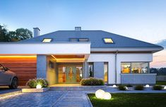Projekt domu Hiacynt 210,18 m2 - koszt budowy - EXTRADOM Modern Pool House, Modern Family House, Modern Bungalow House, House Plans Mansion, Dream House Plans, Architect Design House, House Outside Design, Modern Villa Design, Beautiful House Plans