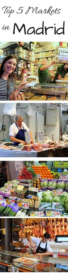 Each Madrid neighborhood has a distinct personality and nowhere is it more apparent than in the markets. If you're looking to meet Madrid through a local's eyes, strolling through its markets is the best way to do it! Here are the top five markets  in Madrid.  http://madridfoodtour.com/the-top-5-markets-in-madrid/