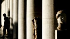 A tourist is seen in silhouette, walking near the restored century B. Stoa of Attalos, in the ancient Agora of Athens, Greece Stuff To Do, Things To Do, Greece Travel, Athens Greece, Crete, Lightning, Traveling, Wanderlust, Bucket