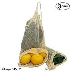 Simple Ecology Reusable Organic Cotton Mesh Grocery Shopping Produce Bags - X-Large (3 Pack)