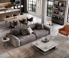 Apartment Interior, Interior Design Living Room, Modern Loft Apartment, Bachelor Apartment Decor, Modern Studio Apartment Ideas, Industrial Loft Apartment, Studio Loft Apartments, Interior Livingroom, Apartment Kitchen