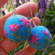 Felted earrings by gypsy colours, via Flickr