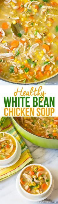 Healthy Chicken White Bean Soup Recipe - A light and lean chicken soup with robust flavor and texture. Made with beans, tons of vegetables, and savory spices. via @spicyperspectiv