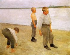 Boys Throwing Stones 1890 Oil on canvas, 120 x 149 cm Magyar Nemzeti Galéria, Budapest FERENCZY, Károly Hungarian painter (b. European Paintings, Post Impressionism, Art Database, Victor Vasarely, Manet, Whistler, Renoir, Art History, Oil On Canvas