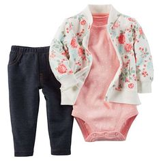 Your little flower will look pretty and be so comfy in this carter's French Terry jacket, Bodysuit, and Pant Set. A baseball-style jacket in an elegant pink and green rose pattern is matched with a pink dot bodysuit and denim pant. Baby Outfits, Outfits Niños, Kids Outfits, Cool Outfits, Fashion Niños, Baby Girl Fashion, Kids Fashion, Baby Girl Pants, Carters Baby Girl