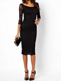 Black Lace Bodycon Party Dress