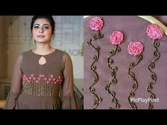 Hand Embroidery Dress, Embroidery On Kurtis, Kurti Embroidery Design, Hand Embroidery Videos, Bead Embroidery Patterns, Embroidery On Clothes, Embroidery Fashion, Kids Blouse Designs, Simple Blouse Designs