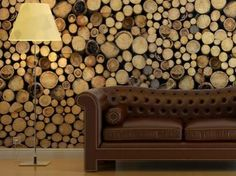 Neato! Log wall paper!