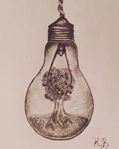 Lightbulb art by Katie Bailey #createdbykathryn #artistwithnohands follow me on Instagram at: krbailey20 (: