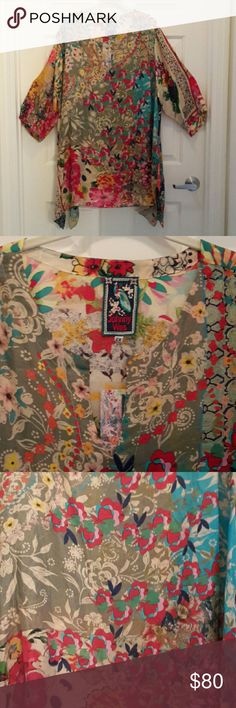 Johnny Was Silk Floral Tunic New Johnny Was Silk Floral V Neck Tunic 3/4 length sleeve with split flowing sides Johnny Was Tops Tunics