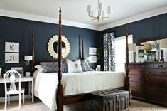 bedroom the dark wood, navy blue walls, with all the white