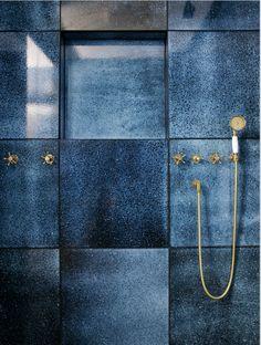 Gorgeous handmade blue tiles | shower