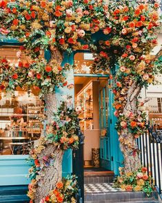 """cafe with bright orange flowers. Travel Destin blue cafe with bright orange flowers. Travel Destinblue cafe with bright orange flowers. Travel Destin like-fairy-tales:""""By: Kathryn Beautiful Flowers, Beautiful Places, Flowers Nature, Beautiful Homes, Beautiful Pictures, Fleur Orange, Blue Cafe, Flower Aesthetic, Plant Aesthetic"""