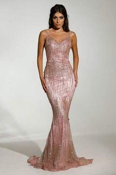7fc1c0520f3f Jadore JX1088 Rose Gold Mermaid Mesh Sequin Formal Dress