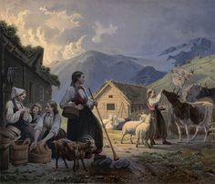 En Aften ved Seteren by Knud Bergslien by Eldharjar.deviantart.com on @deviantART - 150year old painting by a norwegian artist named Knud Bergslien, the picture shows a 'seter' (farm in the mountains) with women in traditional clothing and tools. The instrument the woman in the front hold is a 'Lur', kinda like a big trompet. Its a instrument that have been used here since the viking age or longer. Used to send signals when ur far away.