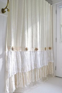 Shabby Cottage Chic Shower Curtain Cream Chenille Lace Ruffle Girls Bohemian Bathroom Gift For Her