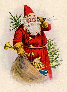 Click on Images to Enlarge Here's a sweet Antique Christmas Postcard! This one shows Santa with a big bag of Toys and a Christmas Tree. It looks like he's on the phone, taking some last minute gift orders!