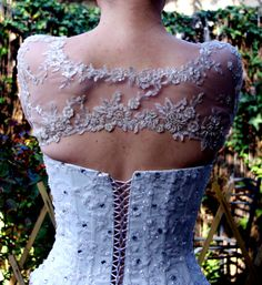 Bridal Bolero Ivory Beaded Lace Pearls 3/4 Sleeve by AmorBride