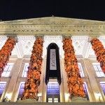 Ai Weiwei Wraps the Columns of Berlin's Konzerthaus with 14,000 Salvaged Refugee Life Vests. As a peace flagger and a wannabe artist, I think this is awesome!