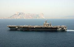 Nimitz Class USS Carl Vinson off the Gibraltar Rock Uss Nimitz, Newport News, Police Dogs, United States Navy, Pearl Harbor, Aircraft Carrier, Atlantic Ocean, Us Navy, Battleship