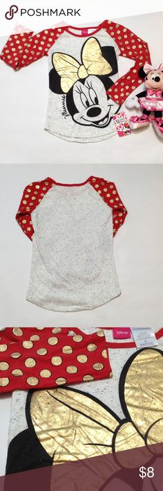 Disney Minnie top How cute is this? The dots and bow are sparkly 🤗 shirttail hem Disney Shirts & Tops