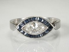 Vintage Platinum Diamond Engagement Ring with by lonestarestates, $1325.00