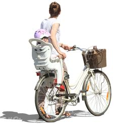 A mother with her child on a bicycle