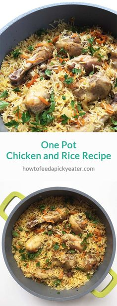 Juicy chicken drumsticks, crumbly rice with carrots and onion makes a perfect one pot dish. Chicken Wings And Rice Recipe, One Pot Chicken, Chicken Drumsticks, Baked Chicken, Wing Recipes, Baby Food Recipes, Dinner Recipes, Cooking Recipes, One Pot Dinners