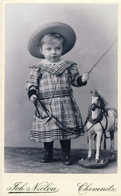 +~+~ Antique Photograph ~+~+   Adorable boy with a toy horse ~ Germany 1902.