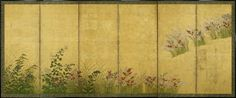 A pair of six-fold paper sōkazu byobu (flower screen) painted in ink and colour on a gold ground with autumn flowers and grasses: hagi (bush clover), nadeshiko (pinks), kiku (chrysanthemum), kikyo (bell flowers) and ominaeshi (Patrinia scabiosaefolia). (L)  Unknown (18th century Edo period)