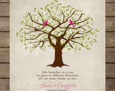 Beautiful unique tree print for your special sister printed on archival paper (with a thin white border). A great keepsake gift for wedding,